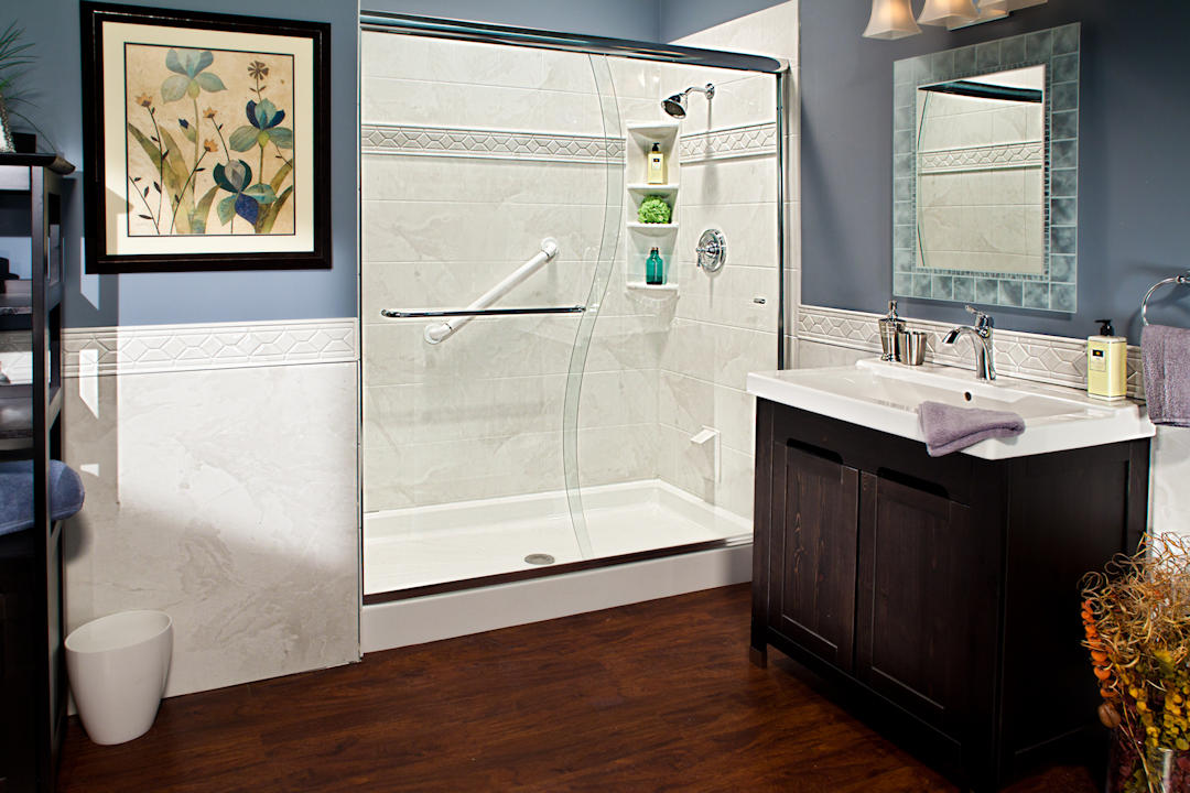 Remodeled Bathroom With White Shower Base