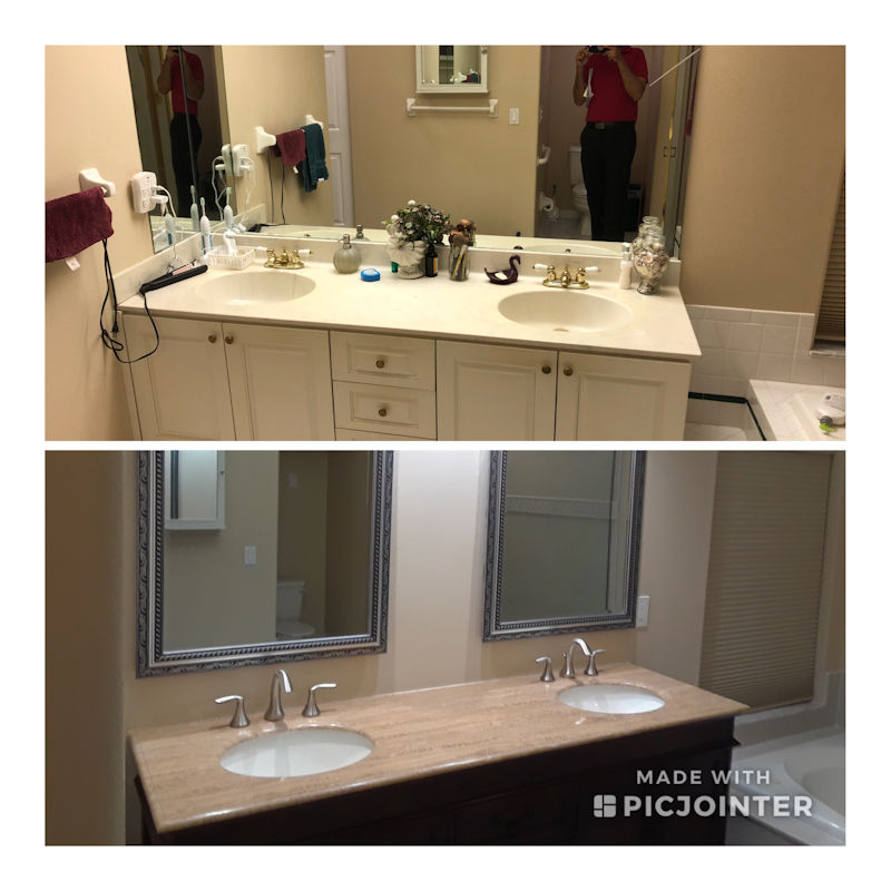 Before and After Double Bathroom Sink Install